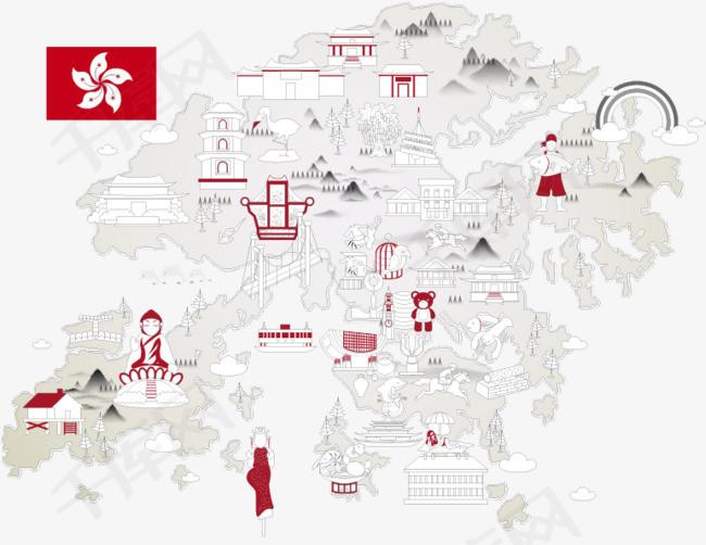 手绘香港旅游景点指南图