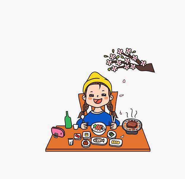 免抠卡通树枝下吃饭的女孩图片
