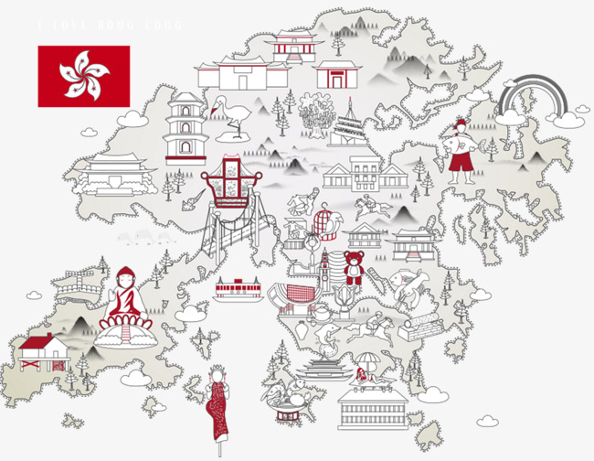 手绘香港旅游地形图
