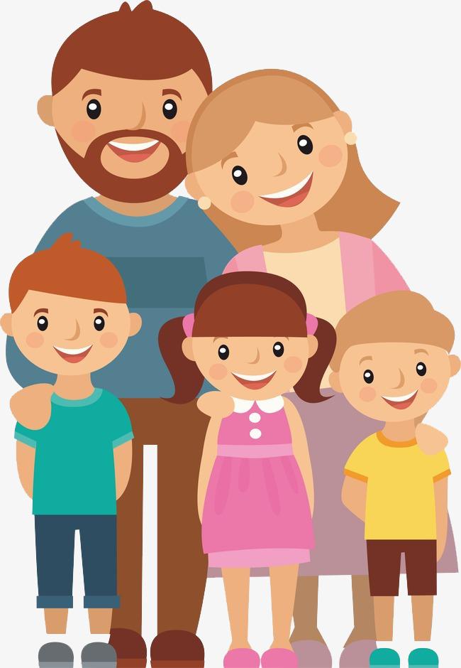 卡通高兴地一家人免抠图素材图片免费下载_高清png_千图片