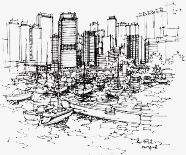 手绘香港城市建筑线稿