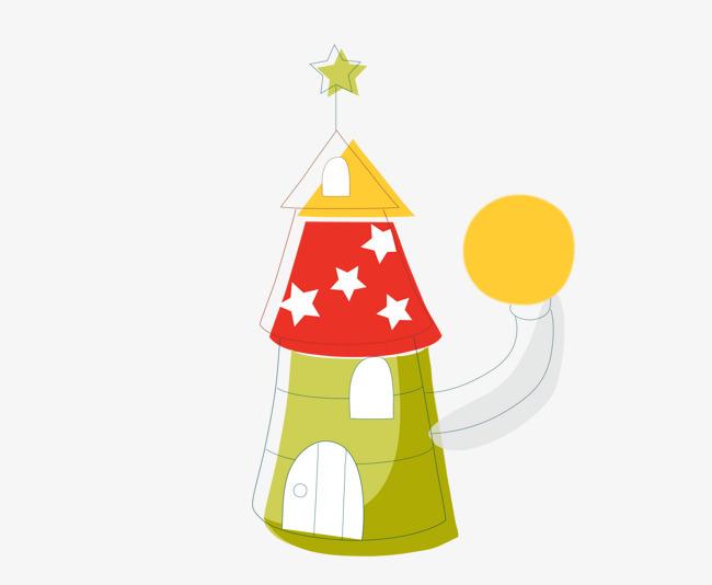 卡通圣诞树房屋手绘图