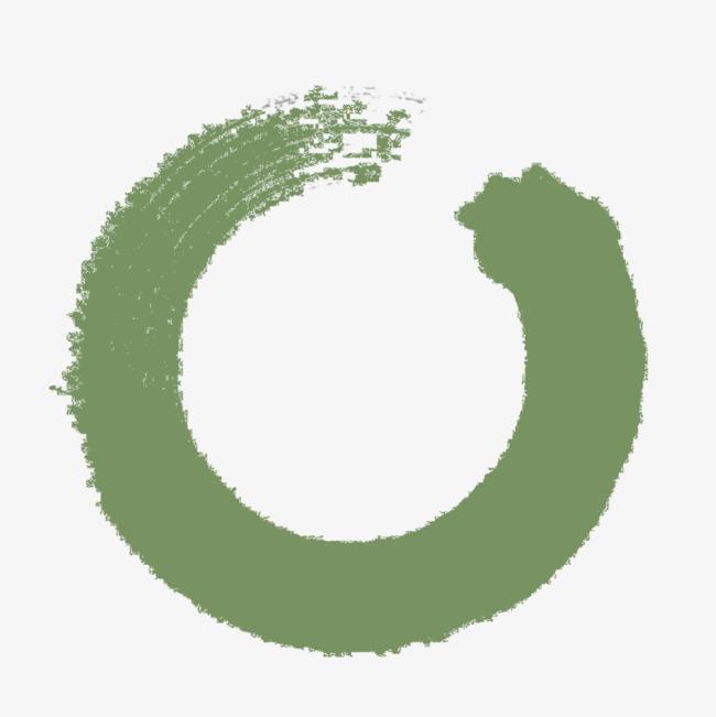 绿色圆圈水墨毛笔笔刷元素_png素材免费下载_ 800*800