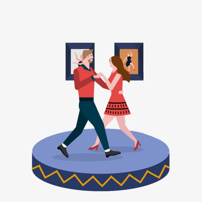 卡通跳舞的情侣免抠图png素材下载_高清图片png格式