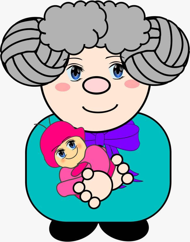 手绘抱小孩的老婆婆免抠