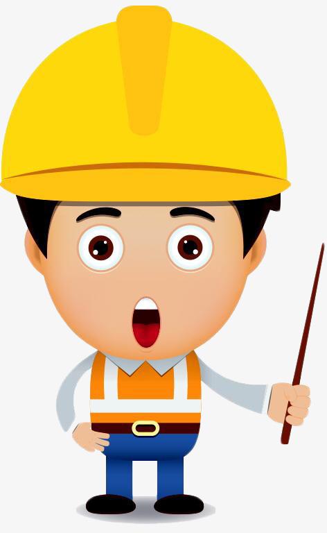 头戴黄色安全帽的小人卡通png_png素材免费下载_ 472*