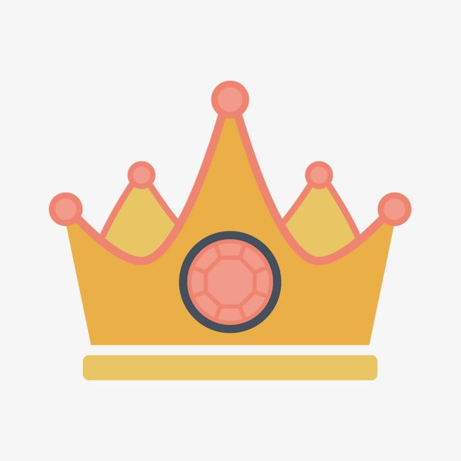 黄色手绘线稿皇冠卡通元素