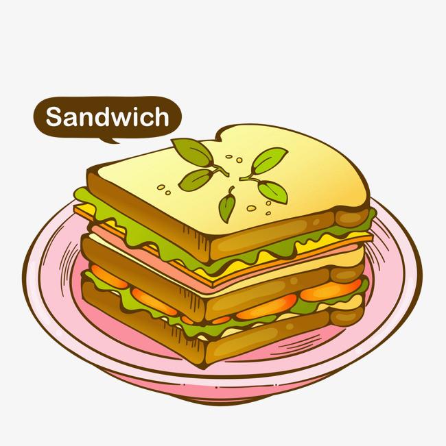 卡通蔬菜三明治免抠图图片