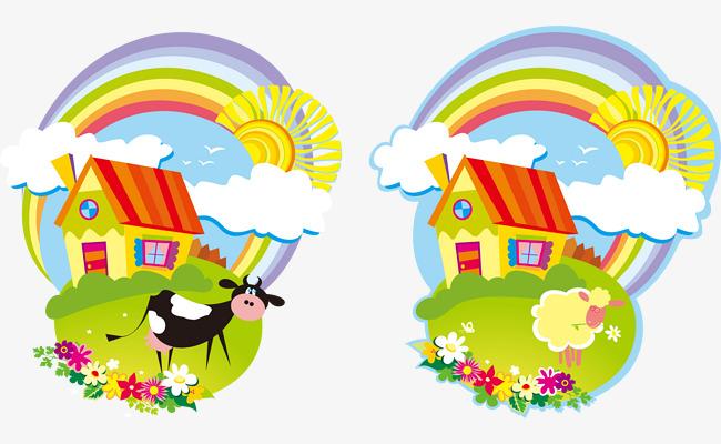 卡通手绘彩色房子彩虹