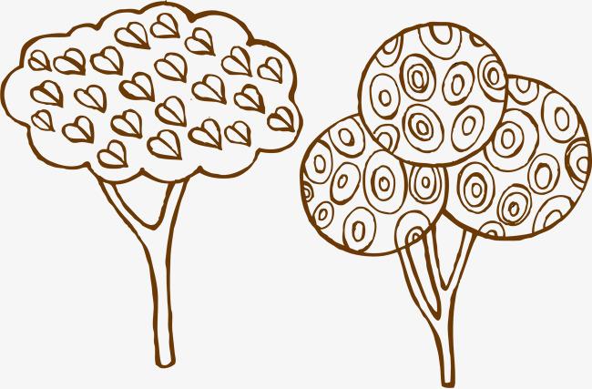 手绘素描心形圆圈大树