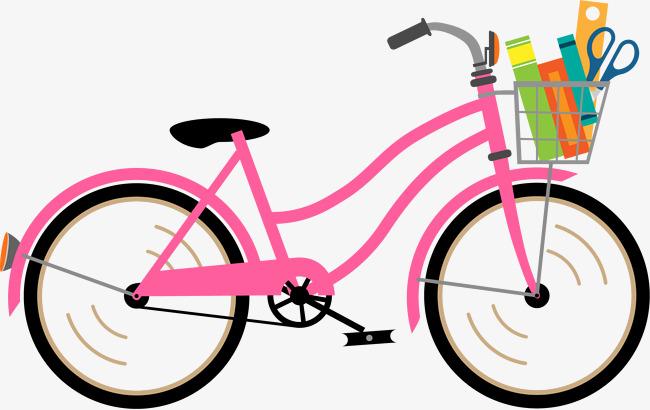 手绘粉色自行车图案