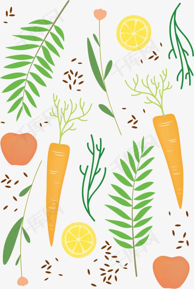 矢量图大萝卜种子瓜子胡萝卜维生素儿童画营养绿色食品