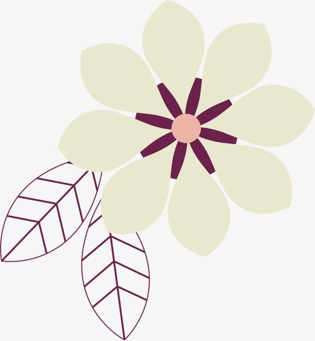 手绘白色花瓣花朵图案