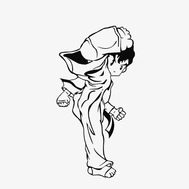 图片 > 【png】 手绘侧踢的跆拳道男孩素材  分类:手绘动漫 类目:其他