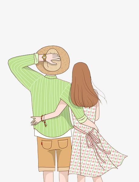 卡通搂着腰的情侣免抠图png素材下载_高清图片png格式图片