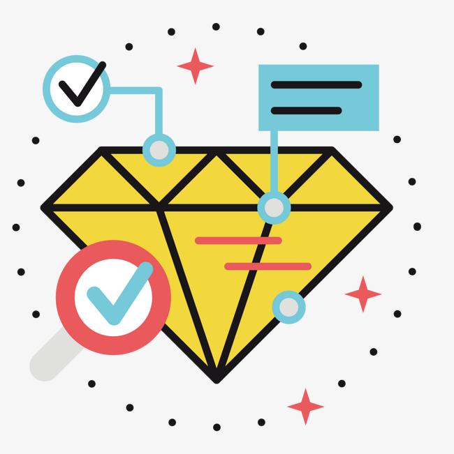 黄色手绘线稿钻石卡通元素