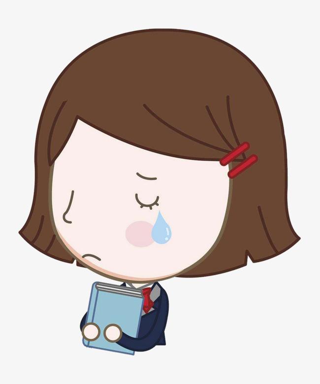 可爱卡通风格短发小女孩沮丧表情矢量图图片