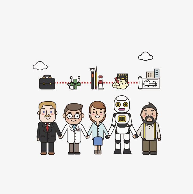 手绘科技与机器人手拉手png