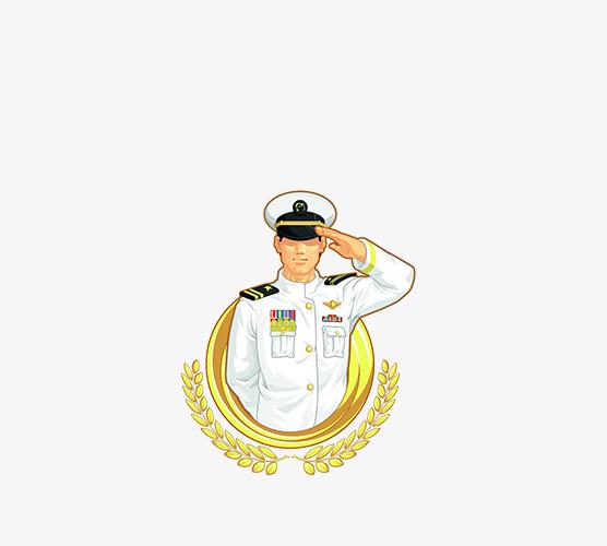 免抠卡通敬礼的军人图片