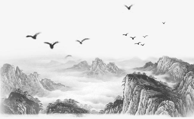 中国风山水墨画素材免抠图中国风古风山水水墨画水墨绘画画画免抠图山水墨图