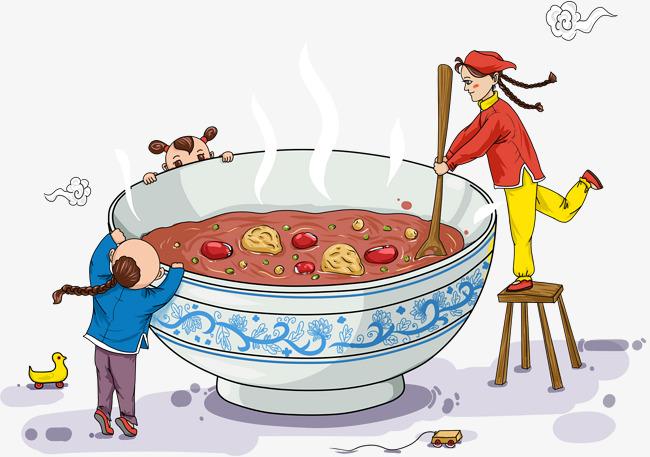 年味腊八粥手绘插画素材