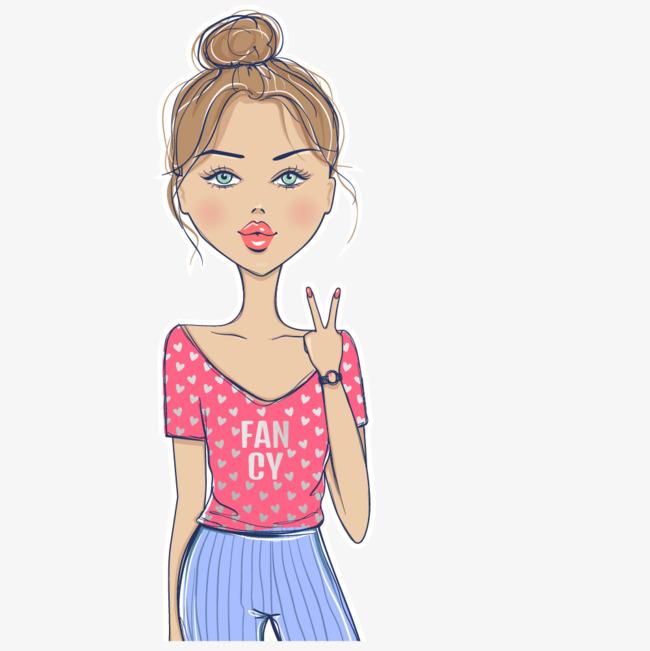 手绘卡通时尚丸子头女孩