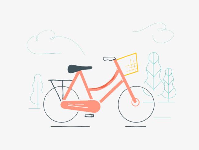 粉红色手绘的自行车