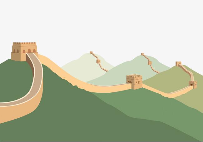手绘扁平化山脉长城