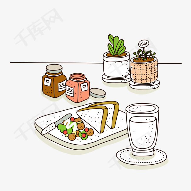手绘早餐牛奶面包面包小盆景早餐手绘牛奶白色杯装牛奶营养饮品饮料