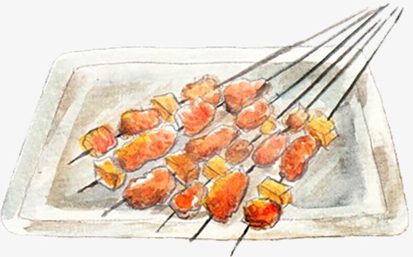 新疆风味羊肉串手绘草图