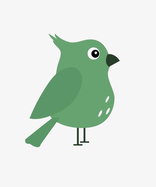 手繪卡通綠色小鳥