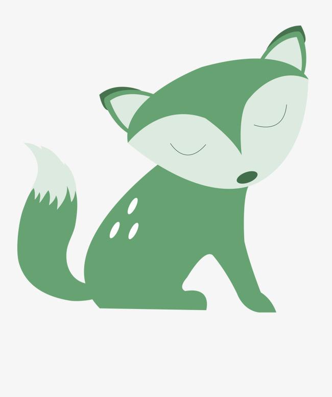 手绘卡通绿色小狐狸
