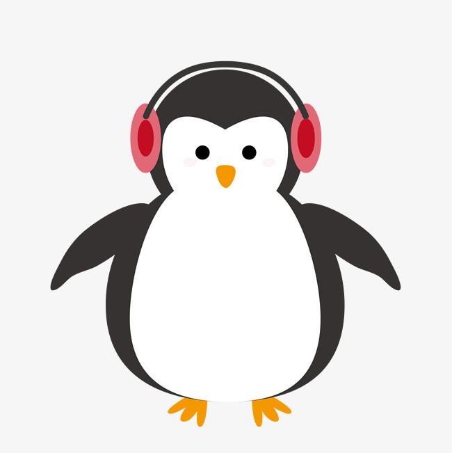 手绘卡通带耳机企鹅