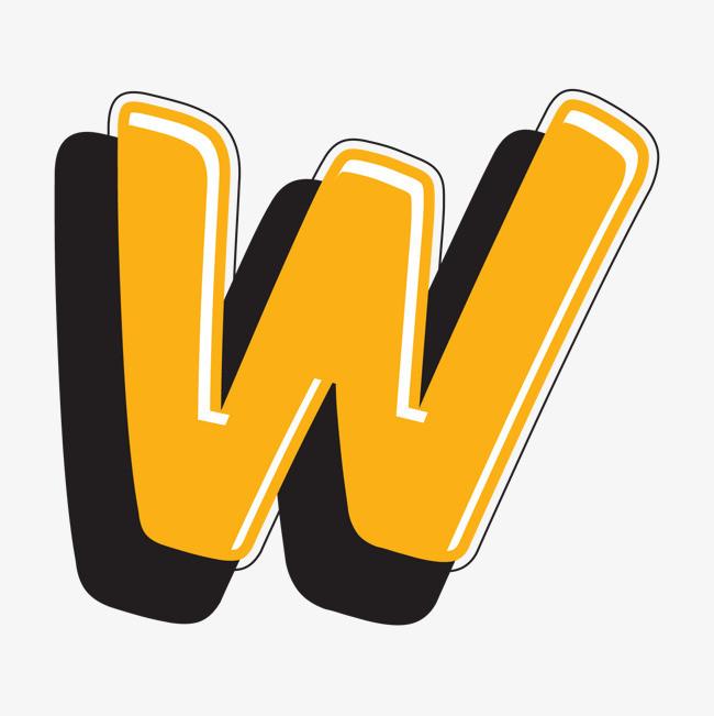 卡通手绘英文字母w