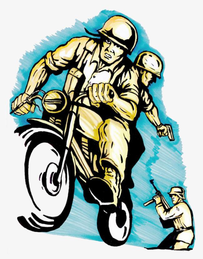 手绘彩绘风格士兵骑摩托车逃跑装饰矢量插画