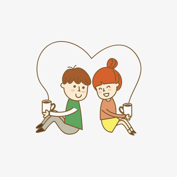 卡通背靠背喝咖啡的情侣免抠图png素材下载_高清图片图片