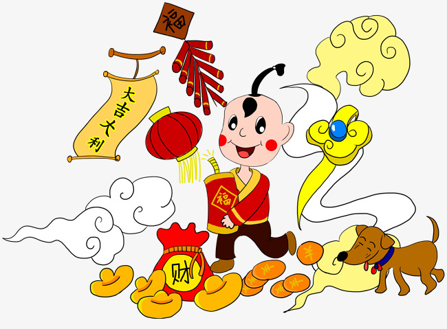 狗年新春装饰手绘插画素材