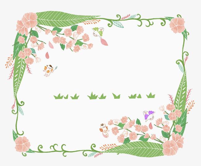 手绘花卉方形边框