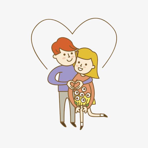 卡通做爱心姿势的情侣免抠图png素材下载_高清图片png图片