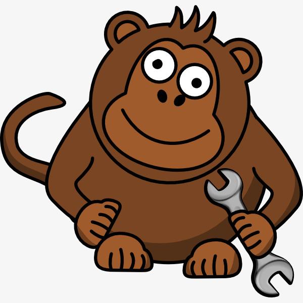 卡通可爱的猩猩歪头手拿扳手插画免抠图片