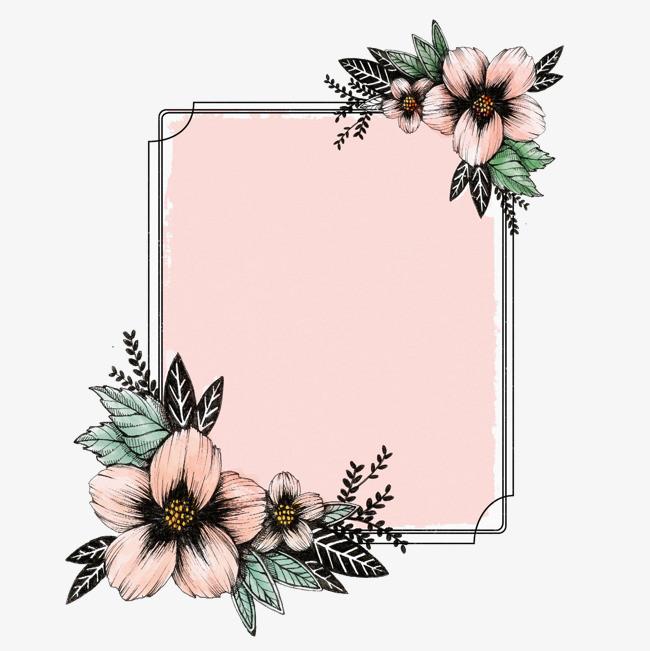手绘植物方形边框