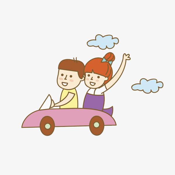 卡通开车的情侣免抠图png素材下载_高清图片png格式图片