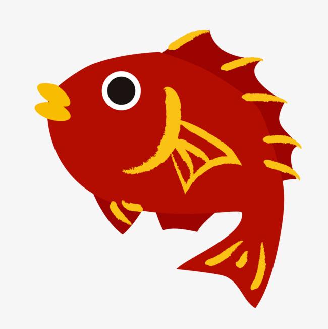 红色的小鱼手绘图