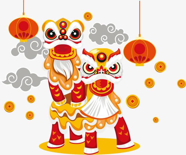 中国风手绘的舞狮子png素材下载_高清图片png格式(:)