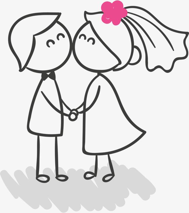 情人節手繪情侶 愛情 甜蜜蜜 親嘴的情侶 繪畫免扣素材