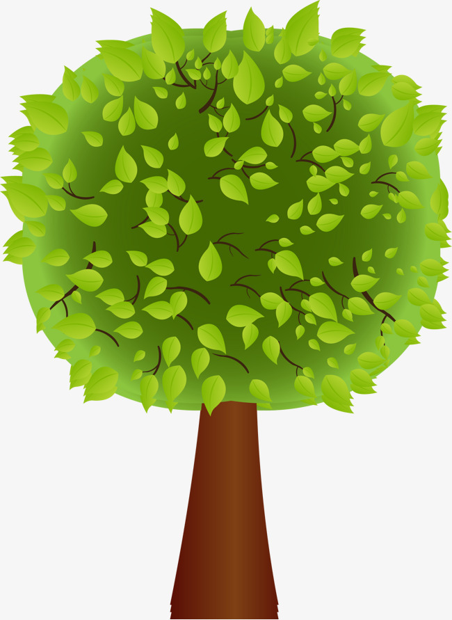 卡通手绘绿色的大树