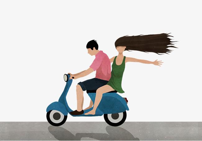 手绘插画情侣骑摩托车兜风