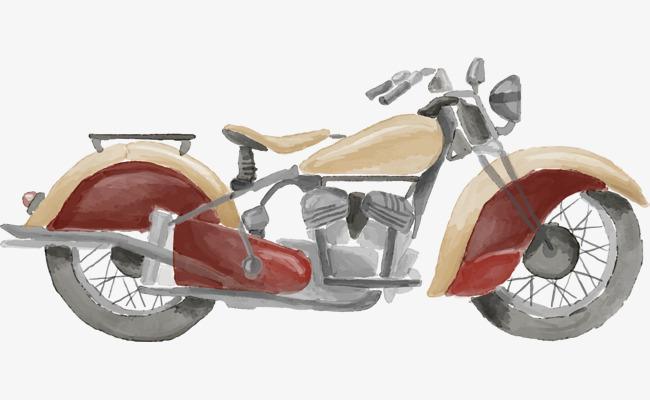 手绘水彩水墨摩托车插图