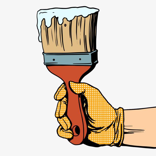 图片 装饰元素 > 【png】 手绘彩色手握油漆刷