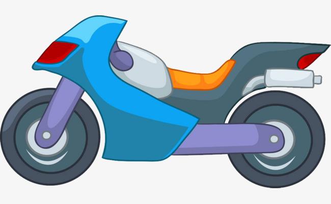 手绘卡通赛车摩托车插图png素材下载_高清图片png格式